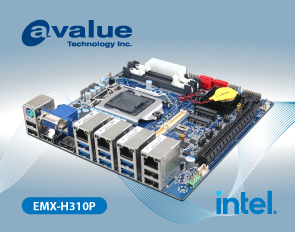 Avalue introduces EMX-H310P, a Mini ITX 8/9th Gen Intel® CoreTM /Pentium® / Celeron® Processor SoC Embedded Industrial motherboards