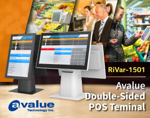 Avalue launches dual-display AIO POS touchscreen terminal RiVar